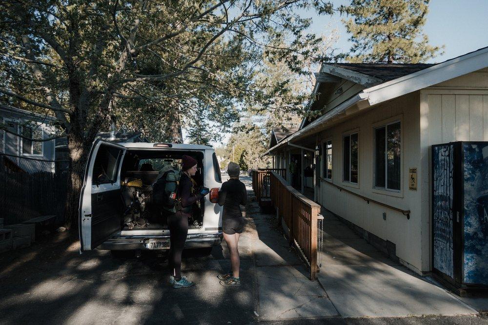 Leaving the Hiker Hostel.