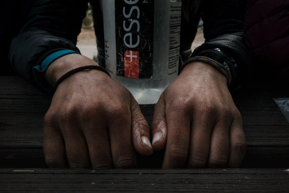 Hiker hands.