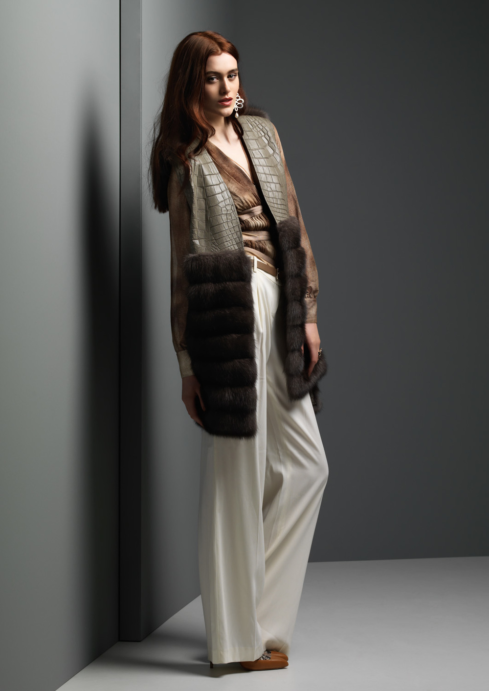Silver Russian Sable and Crocodile Vest