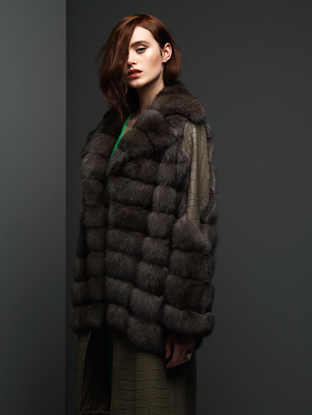 Silvery Russian Sable & Crocodile Coat