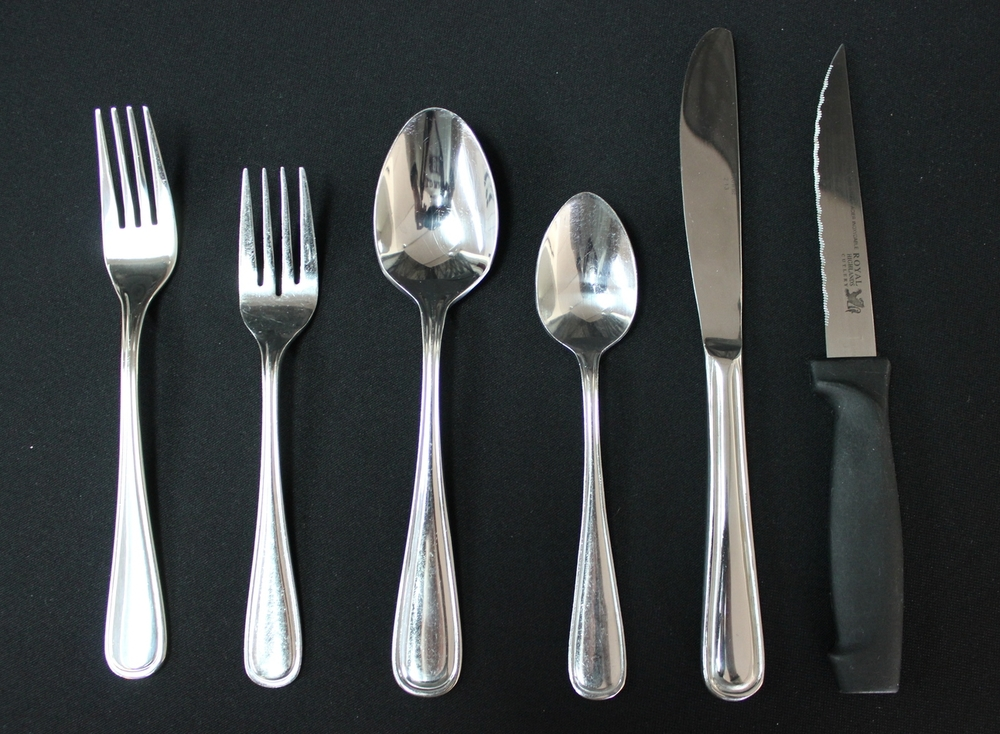 Cutlery (Oneida)    $0.50 Each  Dinner Fork, Salad Fork, Tablespoon, Teaspoon, Dinner Knife, Steak Knife