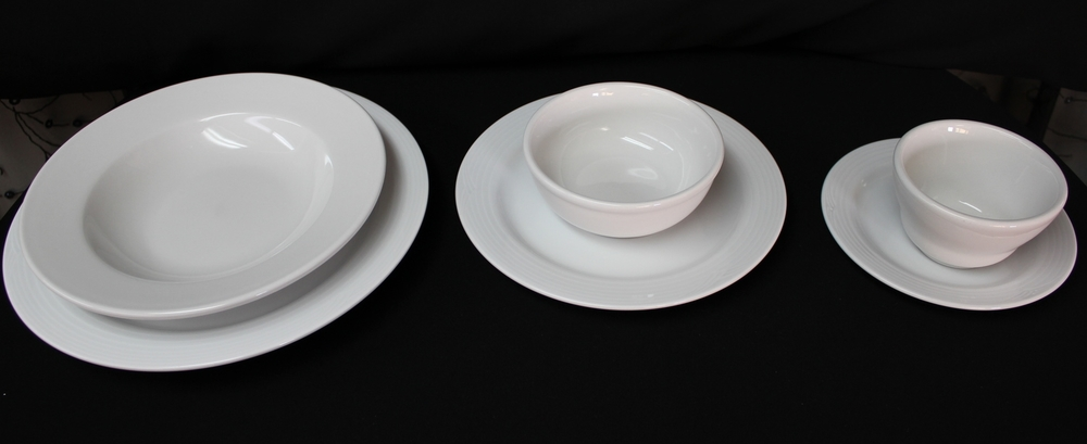 Chinaware (Noritake)   $ 0.50 Each  Bottom:  Dinner Plate, Salad Plate, Bread and Butter Plate  Top:  Mussel Bowl, Chowder Bowl, Chowder Cup