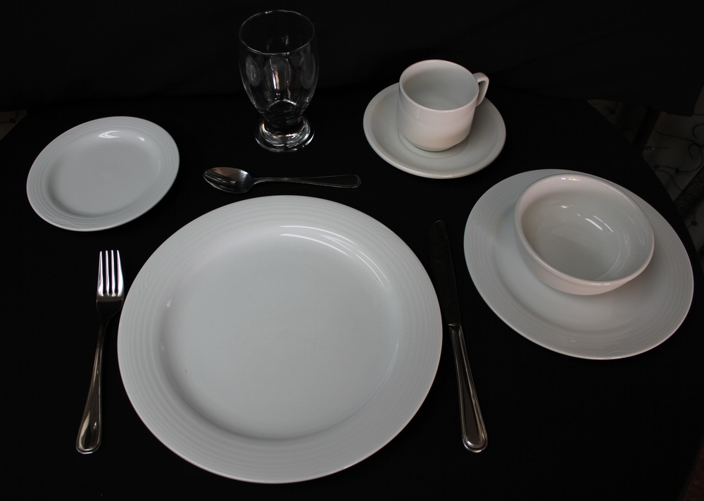 Sample Table Setting   Chinaware (Noritake)   $ 0.50 Each   Cutlery (Oneida)   $ 0.50 Each   Glassware (Libby)   $0.50 Each