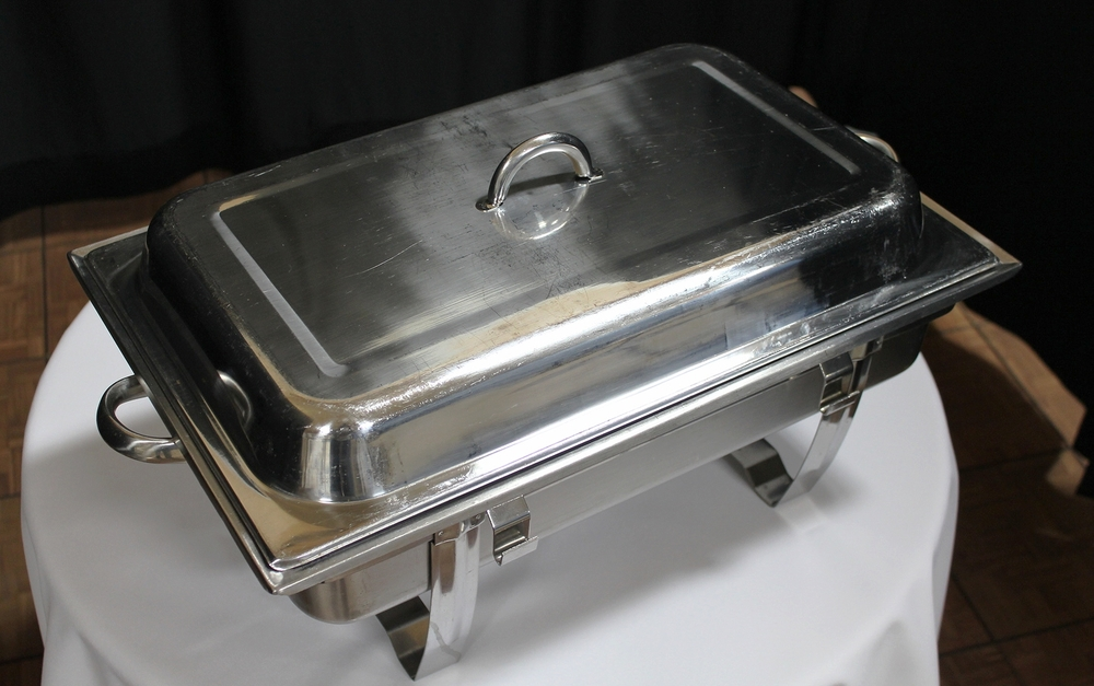 Chafing Dish Rect. $15.00 ea.  Sterno Fuel  (2) per Chafer  $ 4.00ea.