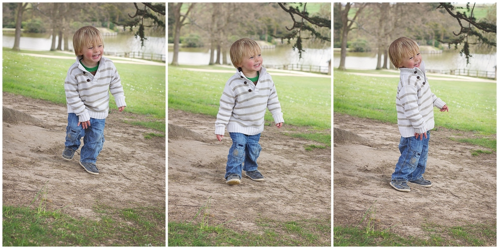 3 triptych images of a little boy at Dunorlan Park giggling away