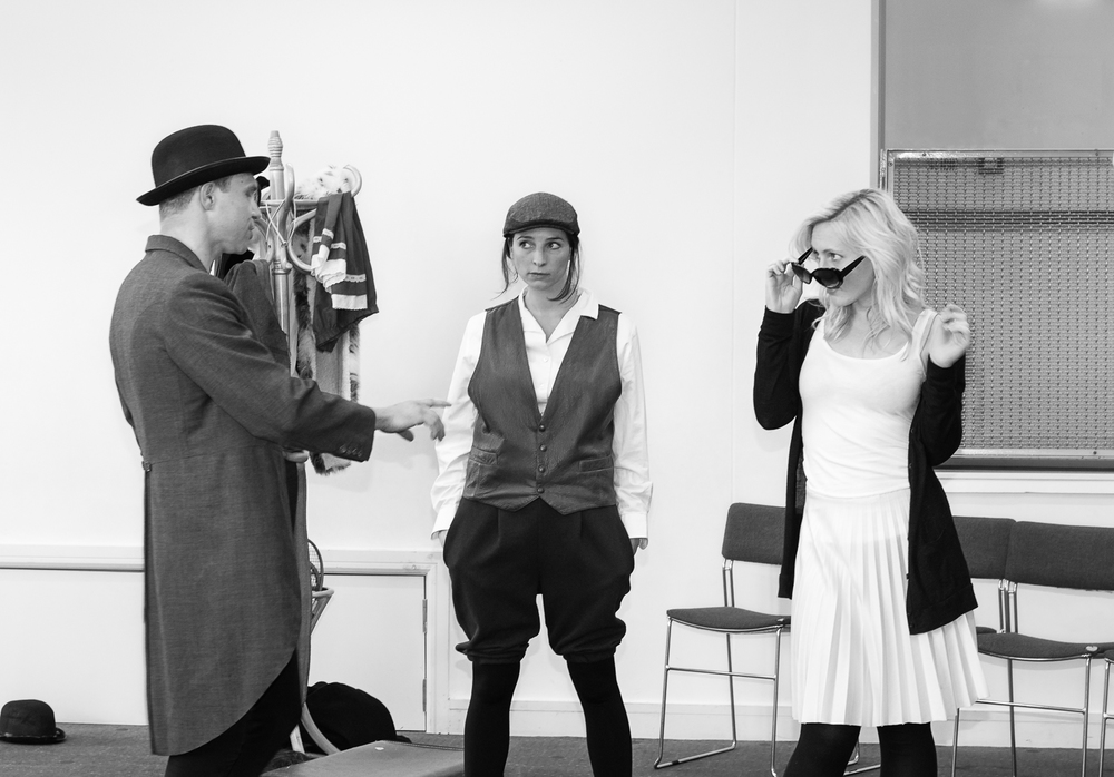 Ripped Script theatre company actors in full dress rehearsals at Salisbury Playhouse