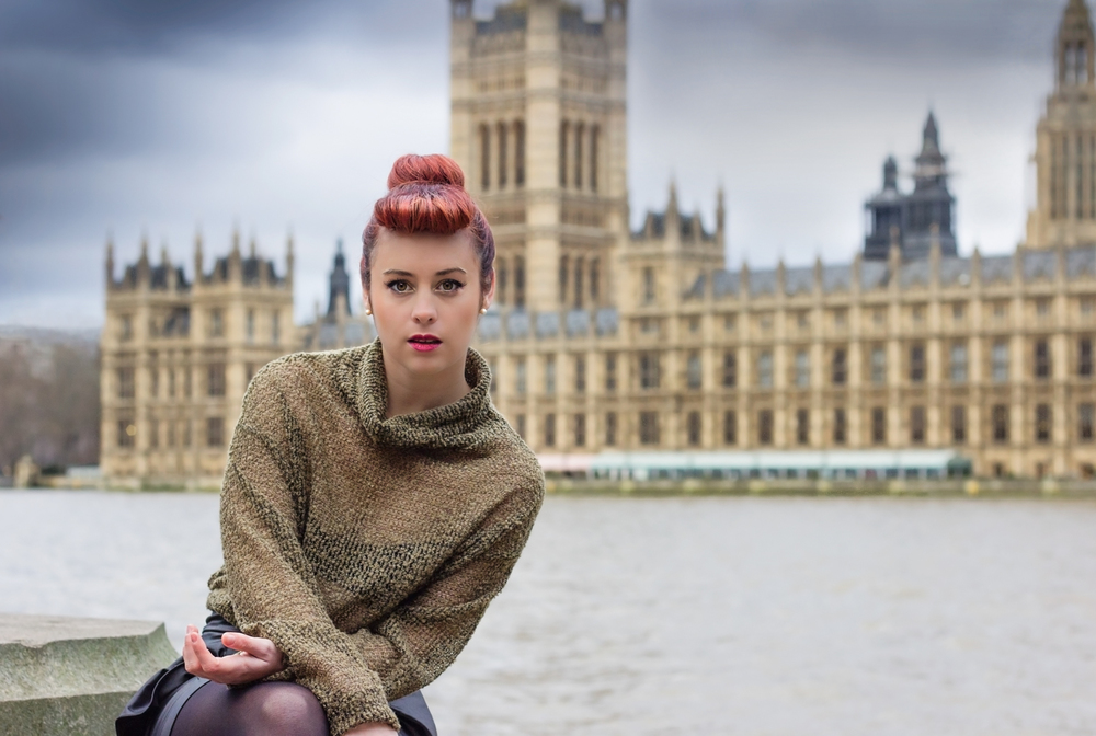 Commercial/editorial photograph for Australian singer 'Poppy' by the River Thames, with the Houses of Parliament in the background