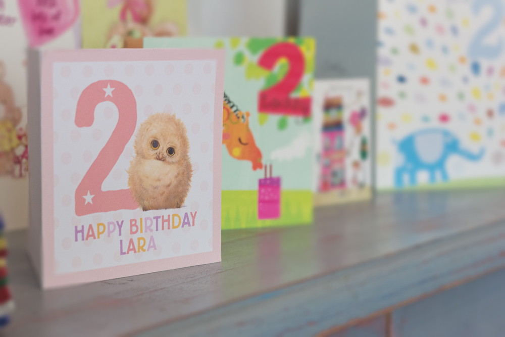 Image shows birthday cards lined up in the house