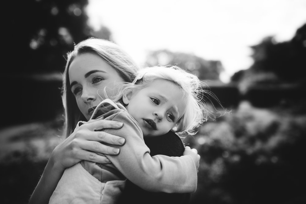 Mother & Daughter black & white photograph by Susie Fisher Photography in Woking