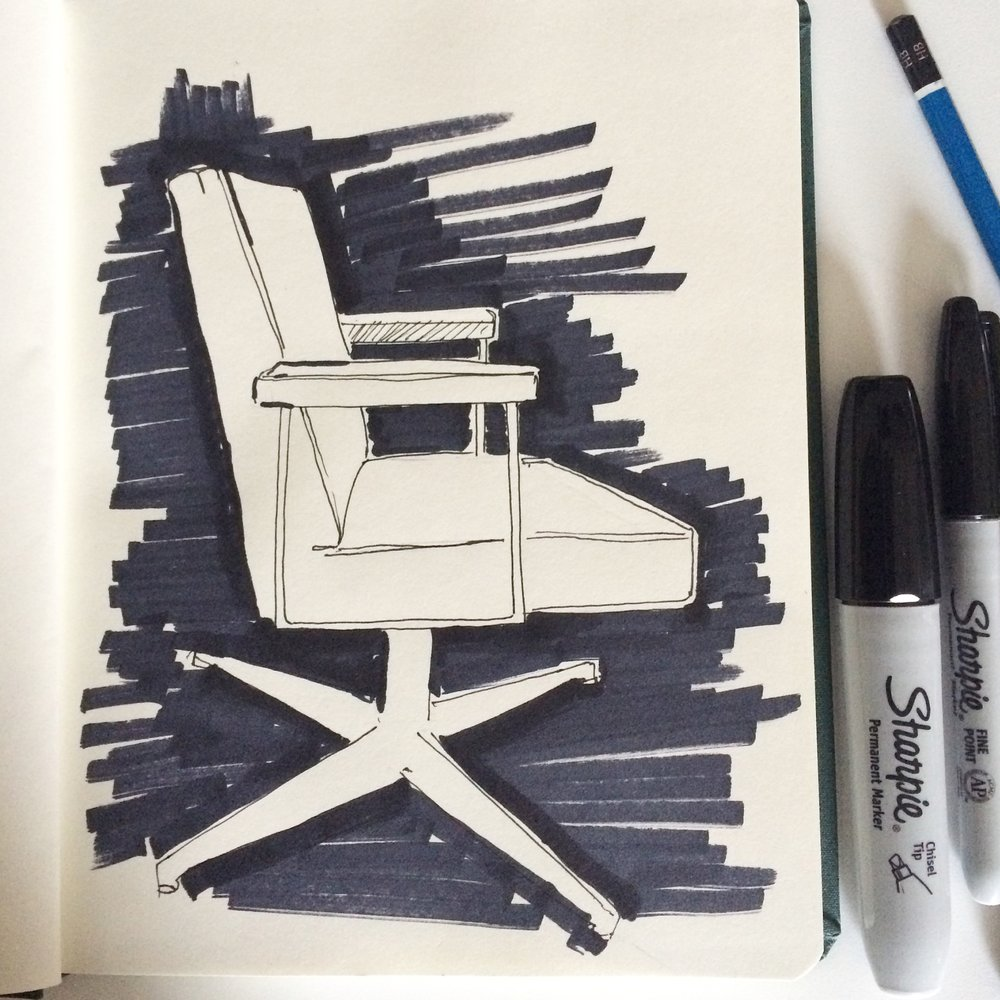 Sketchbook day 2. Vintage office chair.