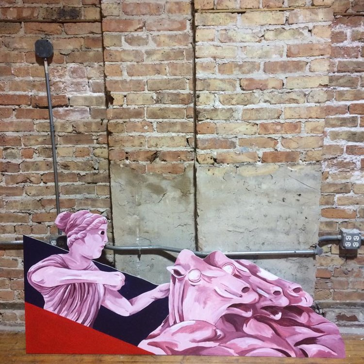 Strike Yourselves Maidens and Tear Your Garments (After Belle Kinney Scholz),  2017, Acrylic on Masonite