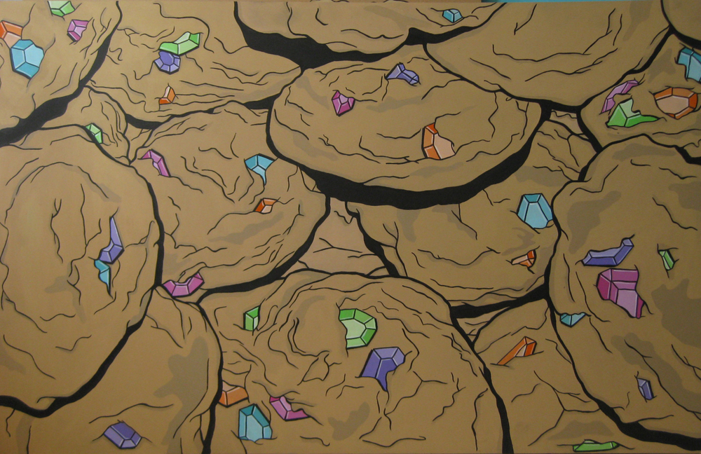 BAKED 2- acrylic on panel