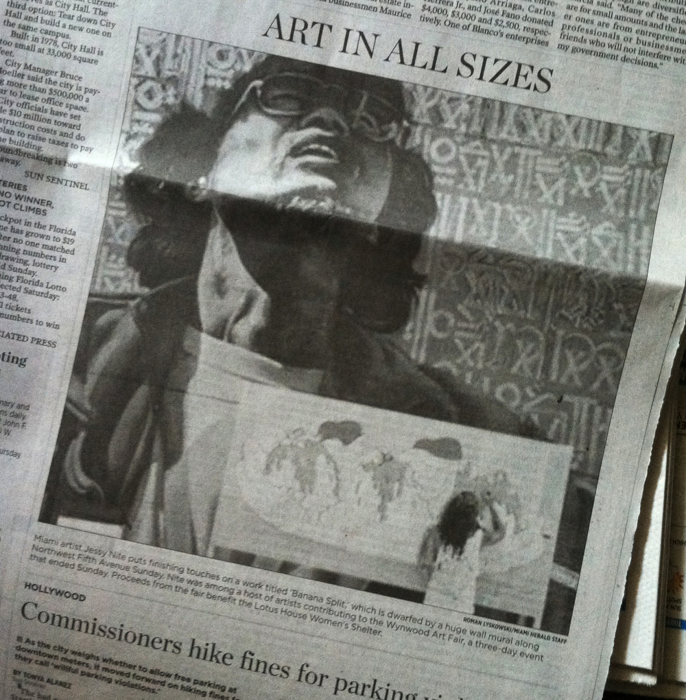 The Miami Herald  |  me painting my tiny banana in front of the mega masters