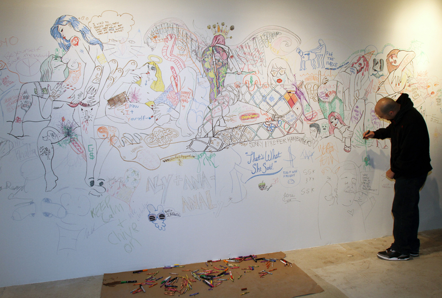 Color Me Porno: It's My Fucking Art Show Edition  |  20ft x 8ft  |  Interactive Installation  |  marker, crayon, bodily fluids
