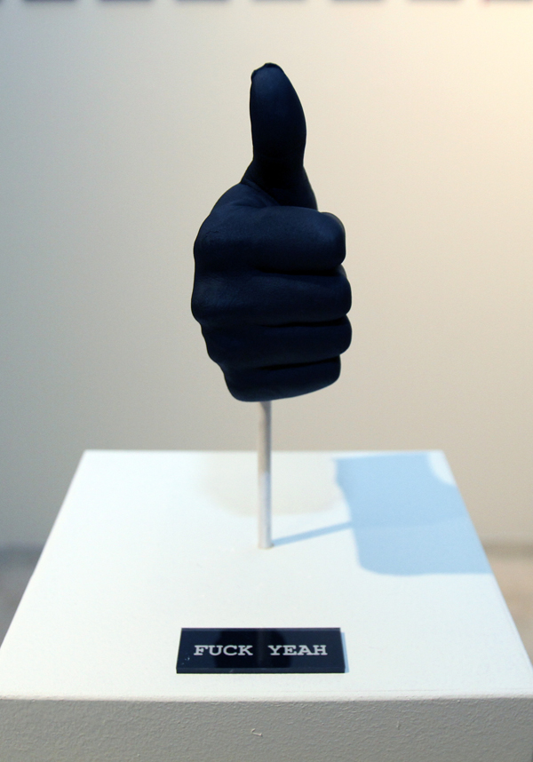 "Fuck Yeah  |  Plaster Cast of Artist's Hand  |  Part of ""Fuck Yeah"" Sculpture Series"