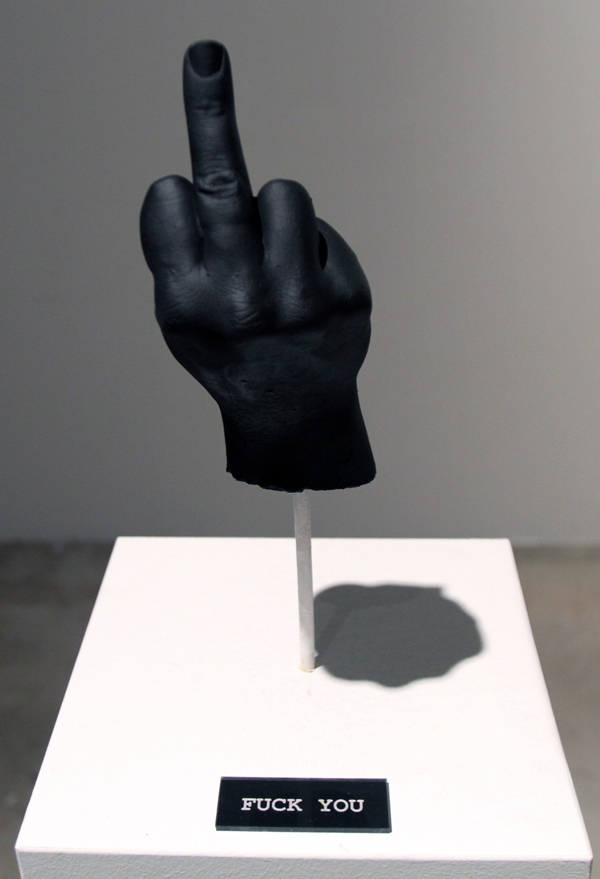 "Fuck You  |  Plaster Cast of Artist's Hand  |  Part of ""Fuck Yeah"" Sculpture Series"