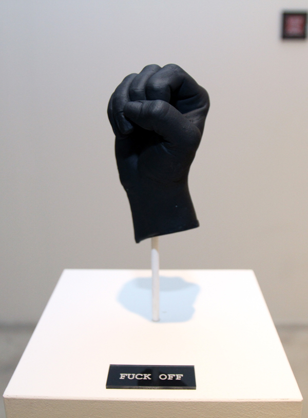 "Fuck Off  |  Plaster Cast of Artist's Hand  |  Part of ""Fuck Yeah"" Sculpture Series"