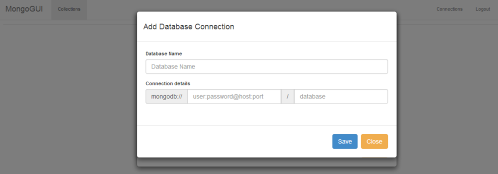 Add a connection to your MongoDB database using the standard format for MongoDB connection strings.