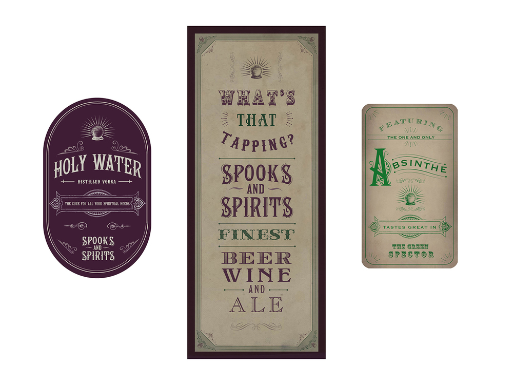 Vodka bottle label, Beer and Wine list, and Absinthe label