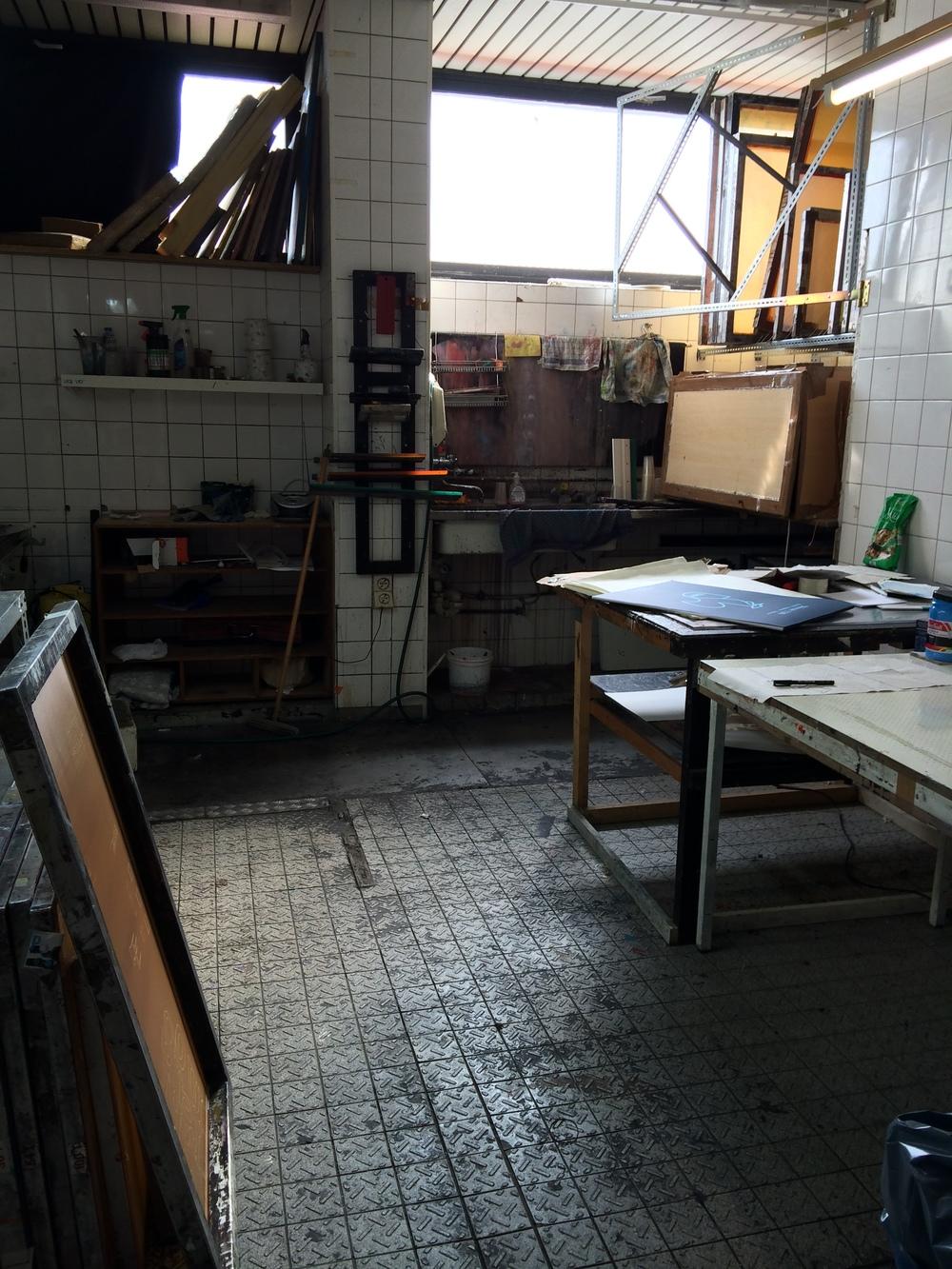Screen print studio.
