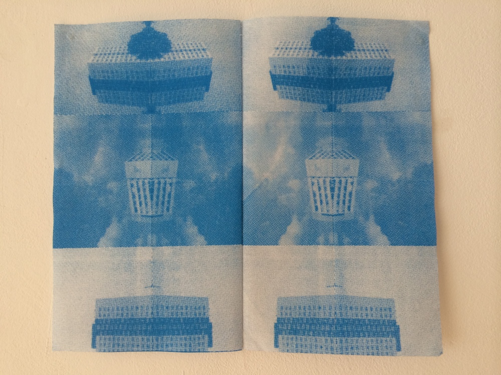 8/25 Screen prints on paper napkins, sewn together.