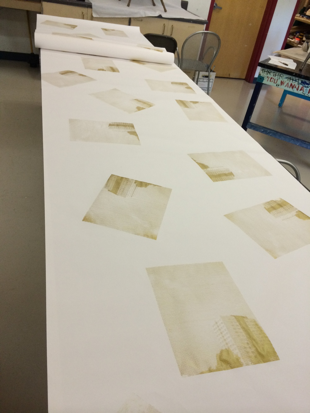 9/29 Screen printing wrapping paper in my classroom, afterhours (kickstarter rewards!)