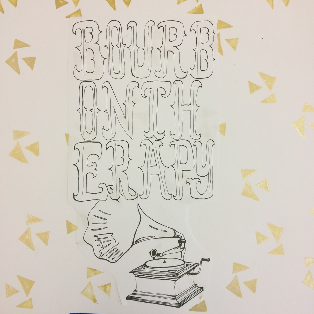 1.30.15 Screen print t-shirt design for band Bourbon Therapy andsome gold triangle stamps.