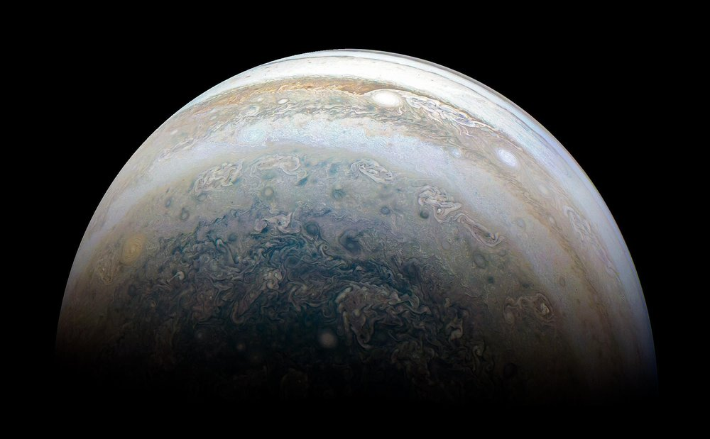 A very recent image of Jupiter taken by the Juno Spacecraft.