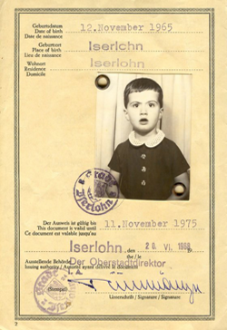 This is my children's passport with a photo of me when I was two years old.