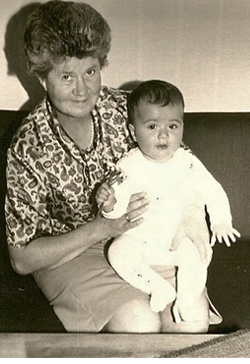 This is me when I was eight months old, on my grandmother's lap.