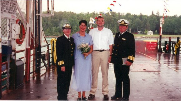 My husband and I were married by the captain of the ferry boat that connects Neebish Island, MI with the mainland.