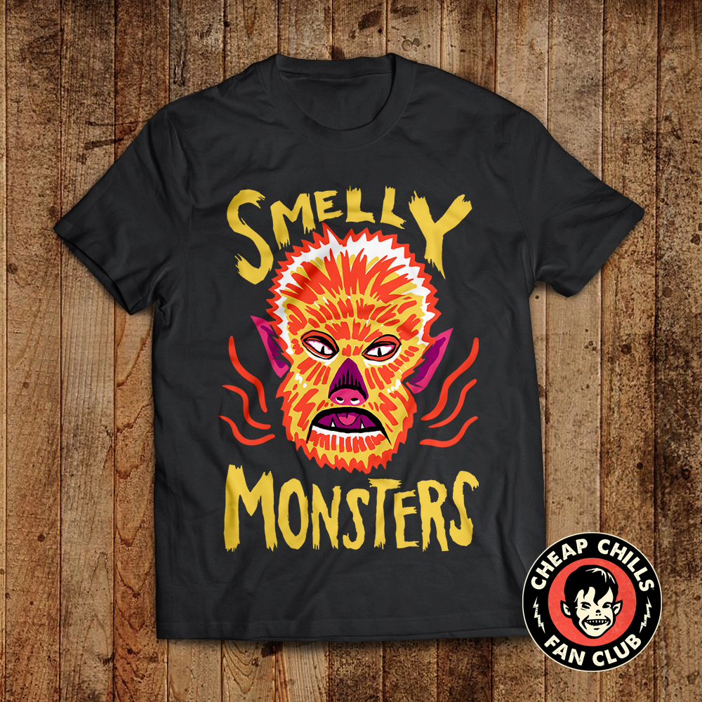 Having a monster-ific podcast is a great excuse to make original art for T-shirts and such. So we do! And they're available on Amazon.com. That means if you're a Prime member you don't even pay shipping. Rad.