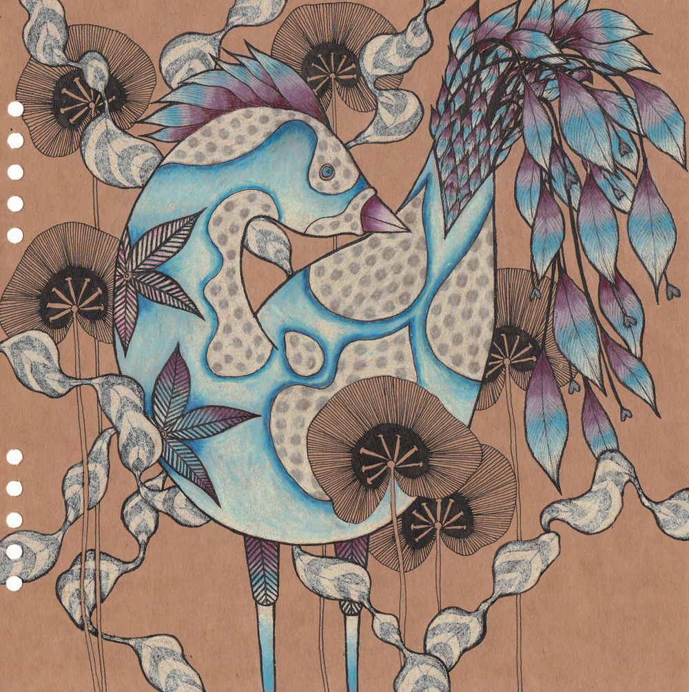 "Strange Bird 1, 8"" X 8"", ink and pencil on paper, 2009  SOLD"