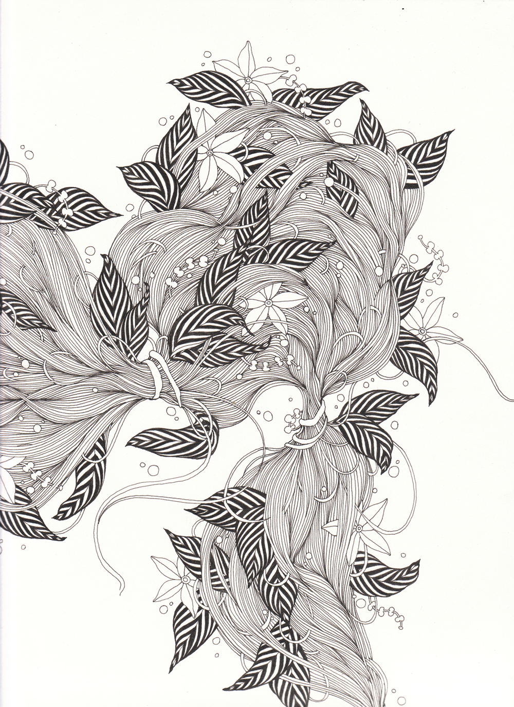 "Hair I, 9"" X 12"", ink on paper, 2011 SOLD"