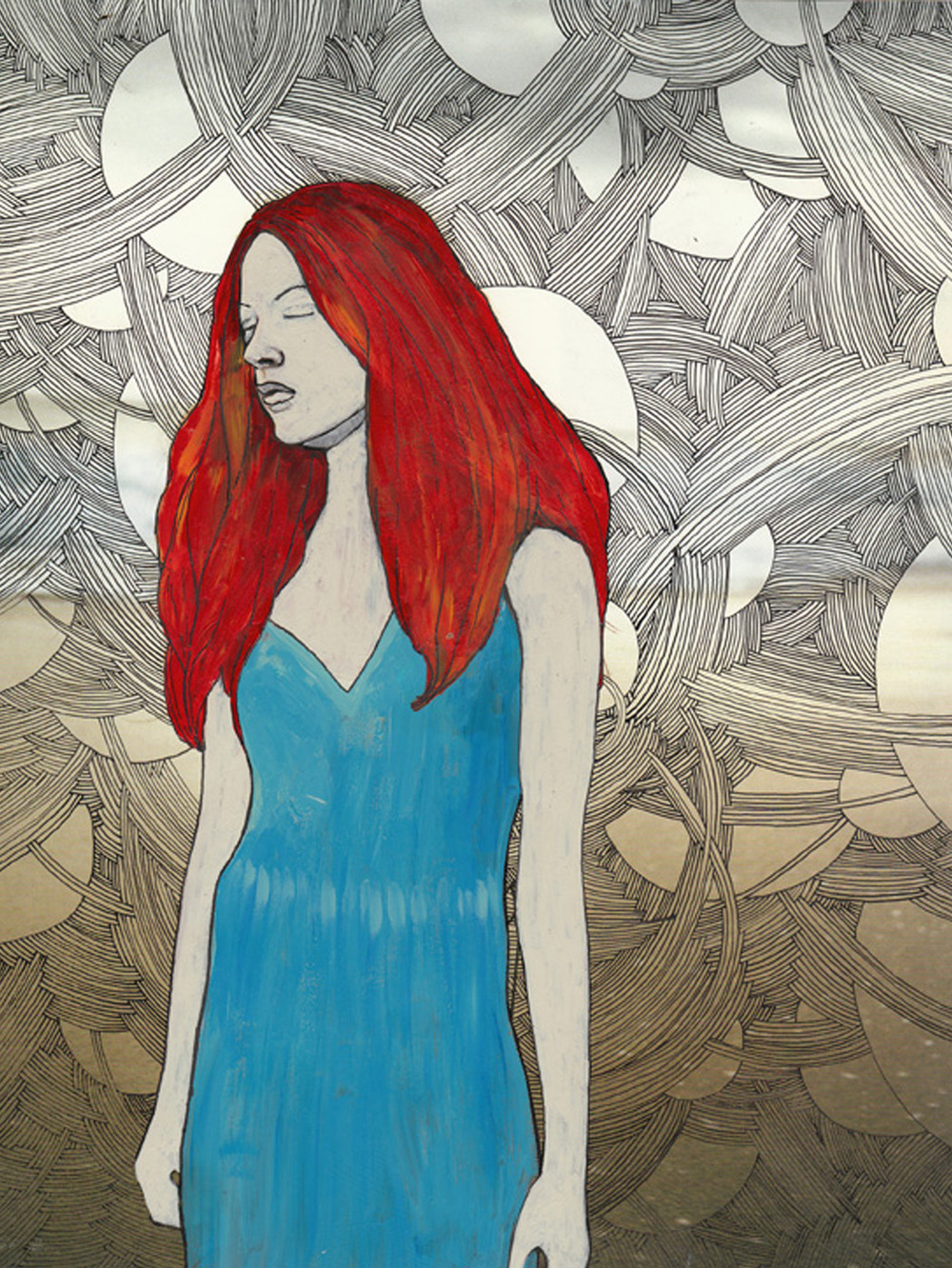 "Blue Dress, 8.5"" X 10"", ink and acrylic on glossy paper, 2008"