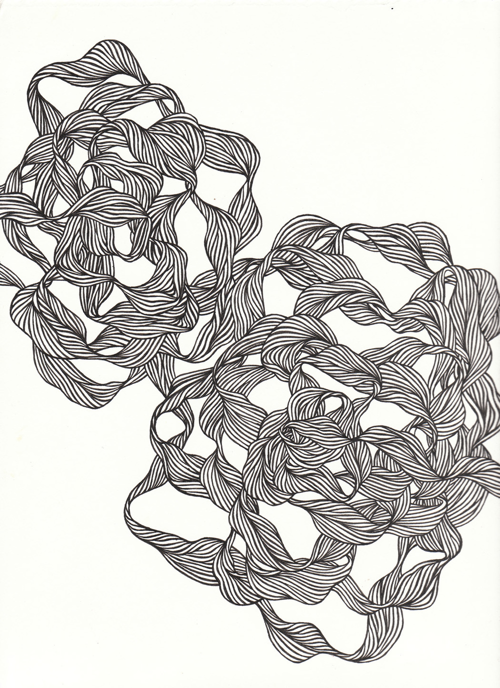 "Swirl, 9"" X 10"", ink on paper, 2009"