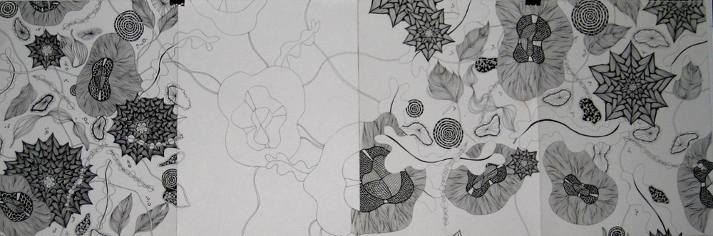 """Space, Works In Progress, Barclay's Center, 12"""" X 36"""", ink on paper, 2011"""