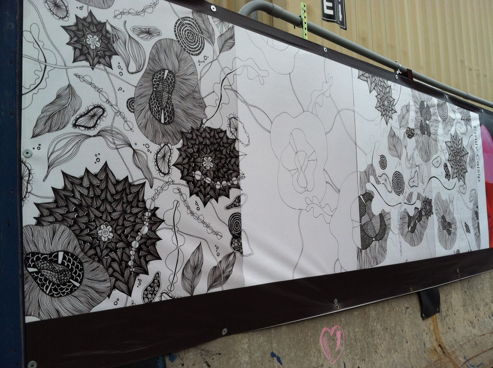 Space, Works In Progress, Barclay's Center, 5' X 20', image printed on large canvas, 2011