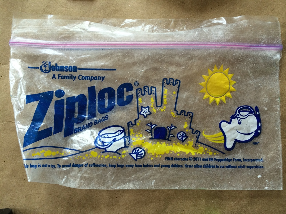 And we'd never buy ziploc plastic pouches - Never ever. Are you taking your snacks aboard a leaky boat? No? Then you don't need to space wrap your food. Put it in a wax or paper bag like a normal person and get on with it.   Okay, this ziploc in particular is KILLING ME.  Irony much?