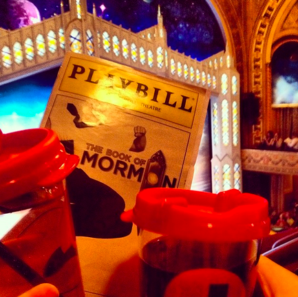 I borrowed this image from Christina DiRusso's twtrland feed (have no idea what that even means) but she is online and she seems sweet and quirky and had this perfect picture of sippy cups at Book of Mormon (click through for a link to her page). Can't help but notice the sippy cup on the left has a straw in it making it even wastier.  Almost no words.