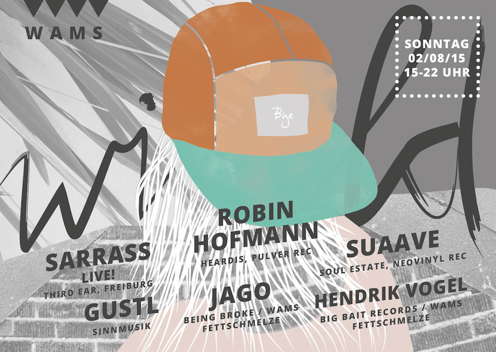 """02.08.2015 - WAMS feat. Robin Hofmann (heardis, Stuttgart) & Sarrass (thirdear, Freiburg) + Local Heroes!   Unser letztes WAMS - Wild am Sonntag #wamsclosing vor einer kleinen Sommerpause feiern wir in gewohnter Manier mit Lokalhelden und hochgeschätzten Gästen.  Begrüßen wird euch zwischen Palmen und Sofas unser Freund GUSTL , der zwar nicht so gern auf die 2 und 4 klatscht, dafür aber mit coolem understatement und gutem Geschmack einen echten Karlsruher Geheimtip abgibt.  Bald ein Kölner Geheimtip ist der DJ, Produzent, Labelbetreiber Suaave(Soul Estate), den wir einfach so nicht gehen lassen können. Ohne ein letztes Mal eine kleine Reise in Vadims Kopf und damit zu DowntempoJungleExperimentalElectronicaFloatingPastelHouse anzutreten.  JAGO (https://instagram.com/jago_dj/) bringt mit, was aus aller Welt bei ihm eintrifft: Krautpop, No Age, Balearic, Synth-Folk, J-Wave, Tropen-House. File under """"Life on an Island"""" oder einfach """"Jago"""".  Mit unserem Freiburger Gast Sarrass ( ThirdEar) und seinem House LIVE-Set begeben wir uns dann erstmal in den Tunnel. Tiefe Hypnose mit straffen Drums und schillernden Synth-Tropfen. Bald kommt auch sein Album auf dem Londoner Label Third Ear!   ROBIN HOFMANN zuletzt 2013 bei WAMS zu Gast, ist schon eine ganze Weile in der Musikszene dabei, so hat er das Label Pulver Records betrieben, mit Dublex Inc. etliche Hits gelandet, und Samples für die Sugababes produziert. Inzwischen sorgt er für gute Musik in vielen anderen Bereichen mit seiner Agentur Heardis, Kommt aus Stuttgart vorbei und hat mit Sicherheit wieder Perlen aus Disco, Balearic, Funk und House mit dabei!   Artwork:  www.lifeinvanilla.com  ♥  FB-Event:  https://www.facebook.com/events/1685639454999036/"""