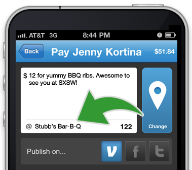 We're at SXSW with iPads and Cash - Look For Blue Venmo T-Shirts    Just use the Venmo app for iPhone or Android to pay a friend at a location in Austin and share it with your friends to enter. The more payments you make, the higher your chances of winning.    » Learn more      We're launching rockets with iPods attached. Blast off!       Venmo, Launchrock, and Hive76 are launching rockets. Catch an iPad Gift Certificate or an iPod on a parachute. Awesome.   » Learn more      There are tons of ways to use Venmo at SXSW      Collect money for tix to a show     Get paid back for the hotel     Split lunch     Happy hour     Find someone in a Venmo T, get them to buy you lunch!         Find someone from Venmo wearing one of these blue t-shirts, and get them to send you some money!