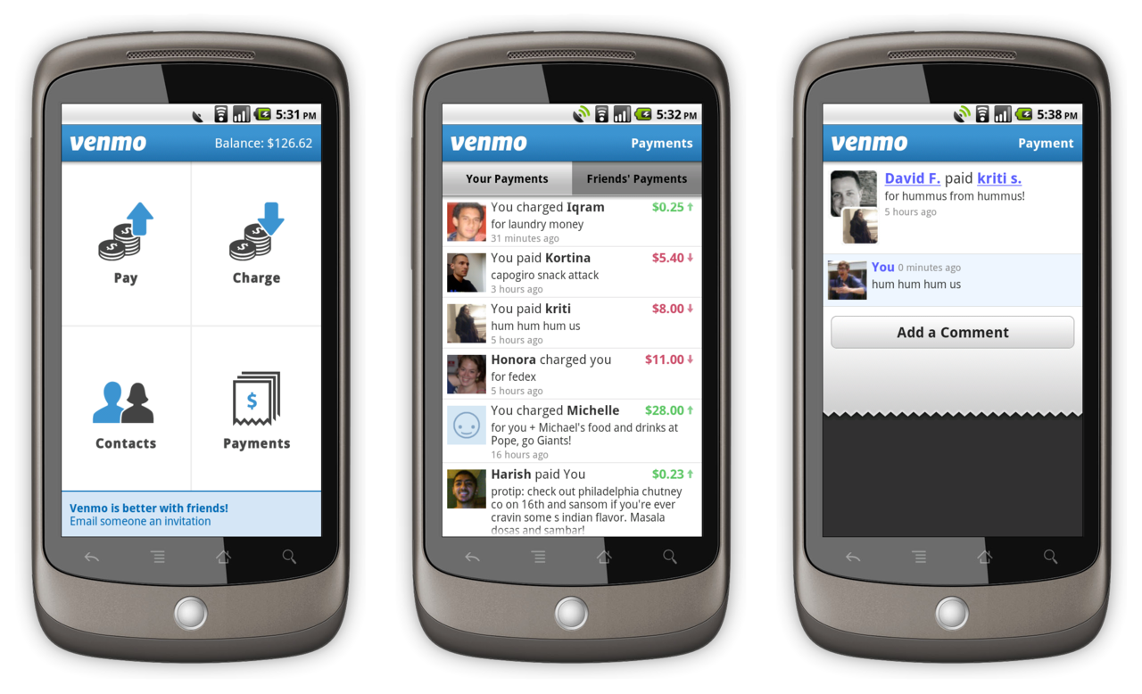 Venmo for Android Updates!   We just made some great updates to our Android app that we think you'll really enjoy.  The biggest difference is that the app is much, much faster and more stable.   Also new in this release, you can view comments on your payments and friends' payments, and add comments to any payment involving you or one of your friends.   Enjoy, and let us know what you think (  http://bit.ly/aOn4OU   )!    Download the app here:  https://venmo.com/android