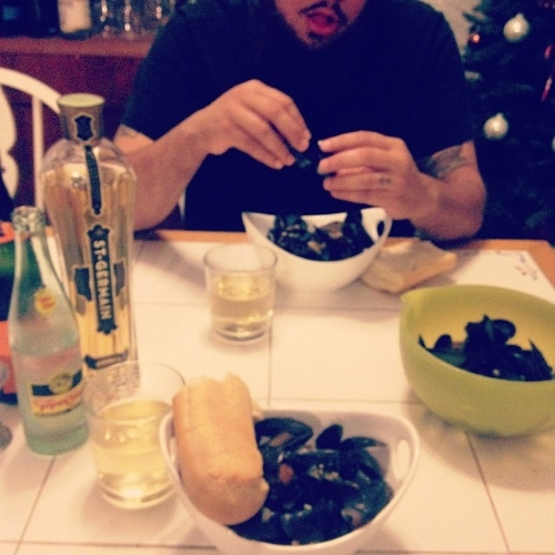 Mussels and St. Germain with my love on Christmas Eve.