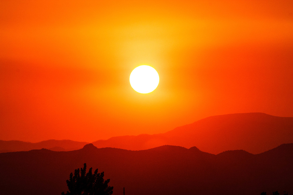 Smoky Sunset, Santa Fe, NM