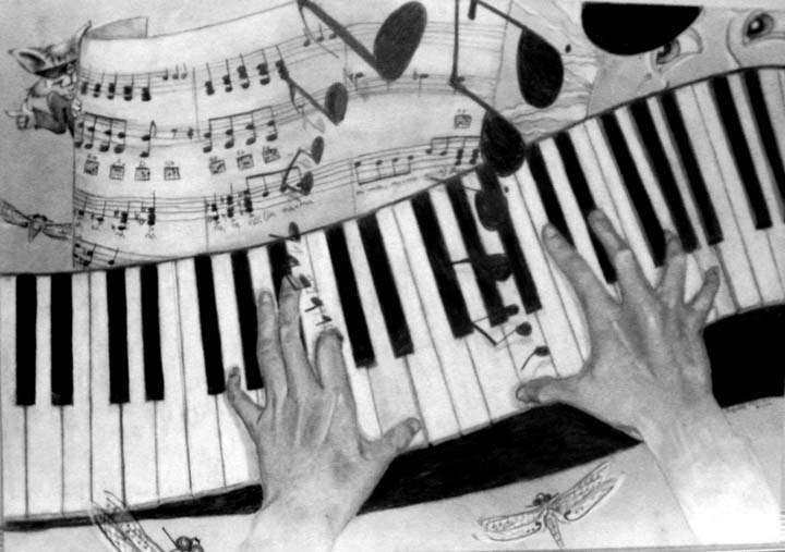 Piano Hands    -   pencil drawing   by Jacqueline Mason