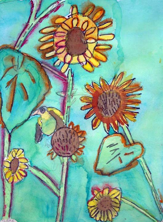 Clair Zeitlin - Bird on Sunflower