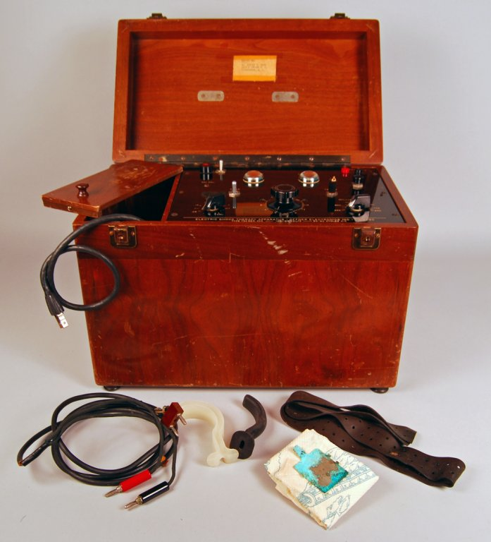 Electroconvulsive shock device, 1950s Electric shock treatment for various psychiatric illnesses was popular from the 1940s to the 1980s. This wooden box contains the heavy regulator for the current and the electrodes that attached to a person's temples where the electricity disrupted brain activity.