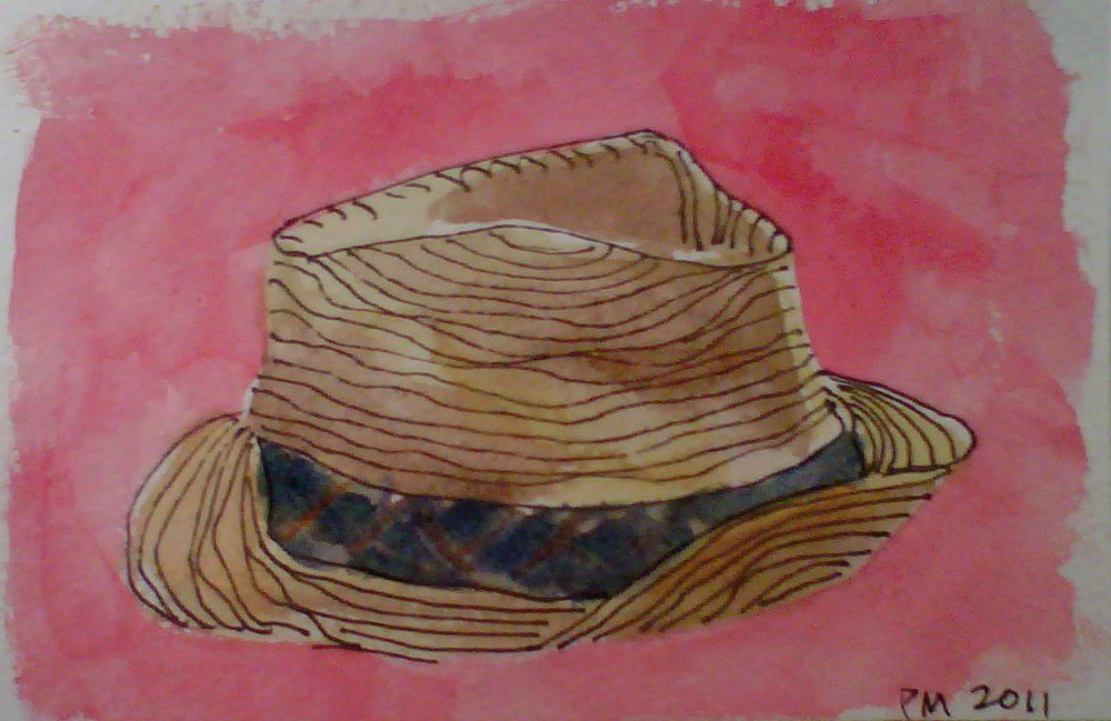 Chapeau, watercolor, 2010