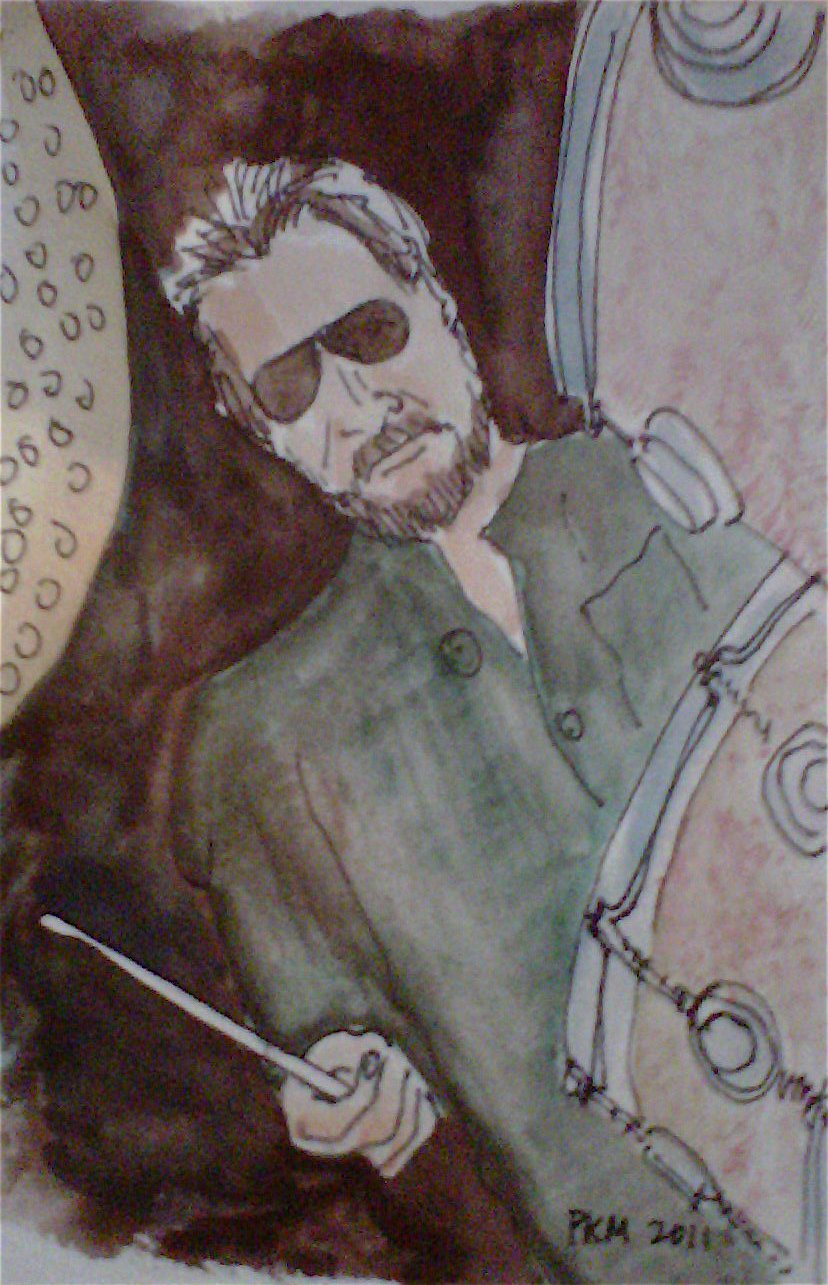 Jim Keltner, watercolor, 2010